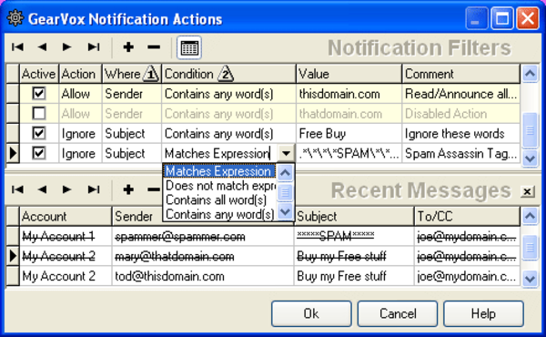 Notification Actions Editor, define your spam filter rules using Perl style regular expressions
