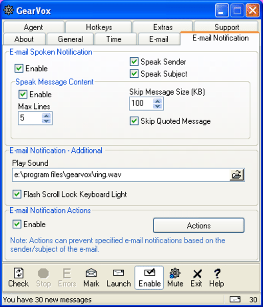 E-mail Notification Options, read aloud, silently, flash the scroll lock key, and more!